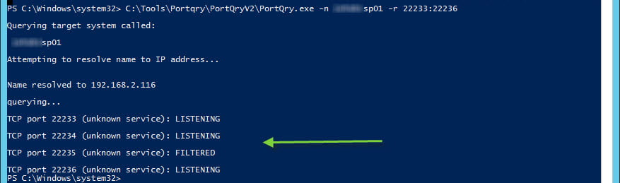 Using Microsoft's Portqry tool we see the ports for Distributed Cache on the first server are open and listening