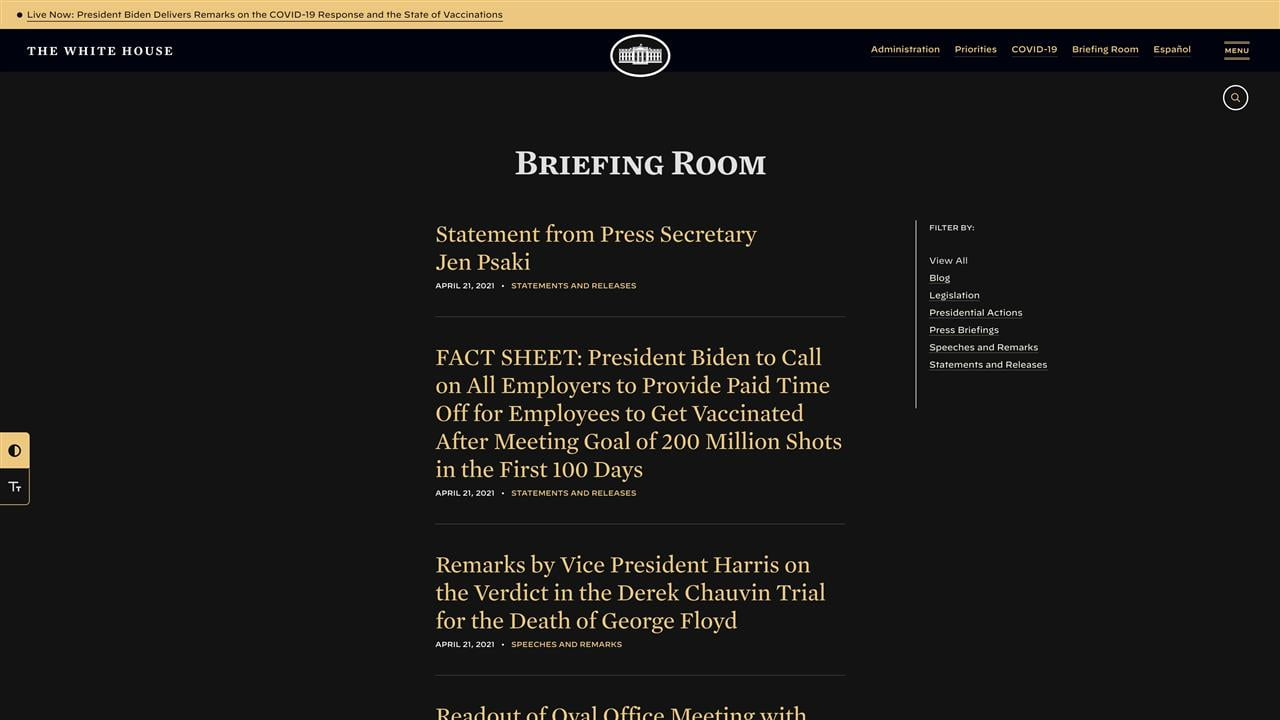 A screenshot of the Briefing Room page of the White House website, in dark mode