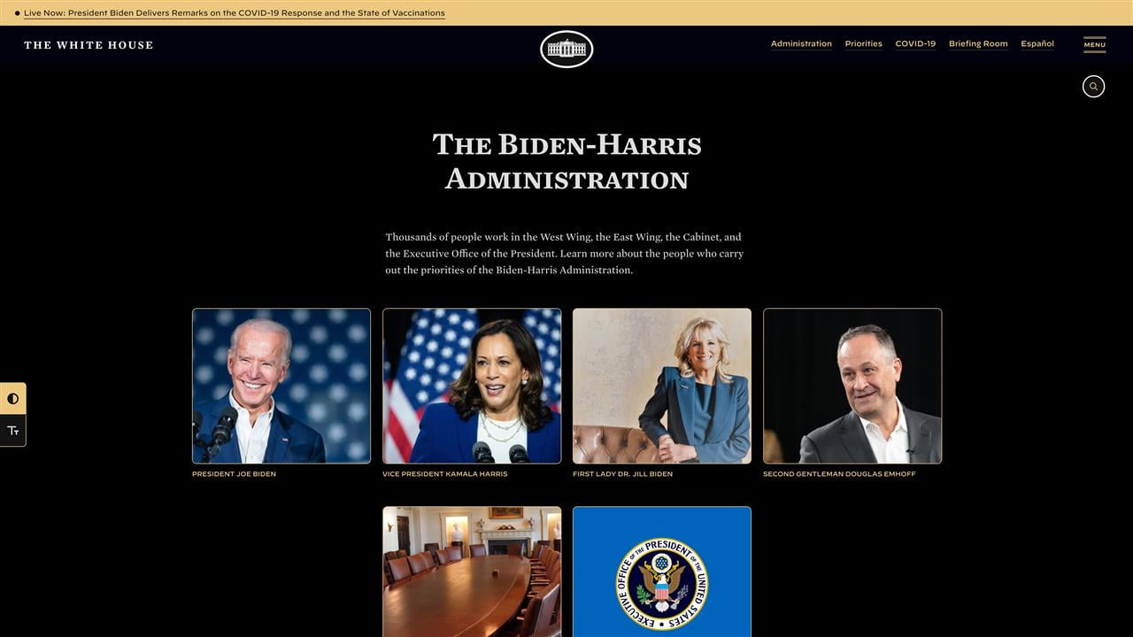 A screenshot of the new White House website, modified to have a pure black background