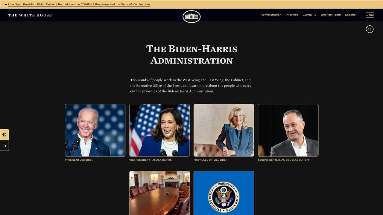 A screenshot of the new White House website, with a very dark grey background