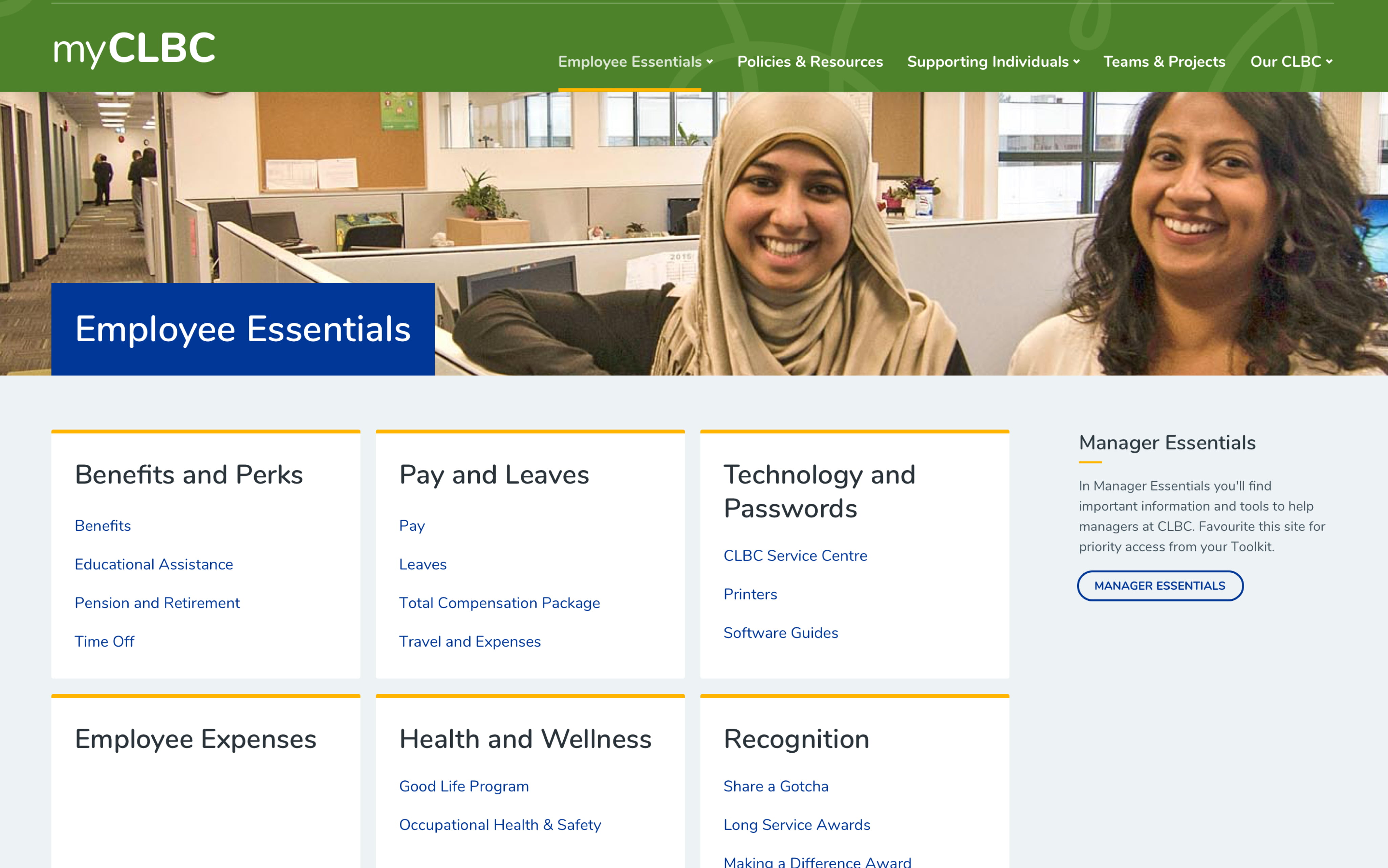 Desktop mock-up of the 'employee essentials' page on CLBC's intranet.