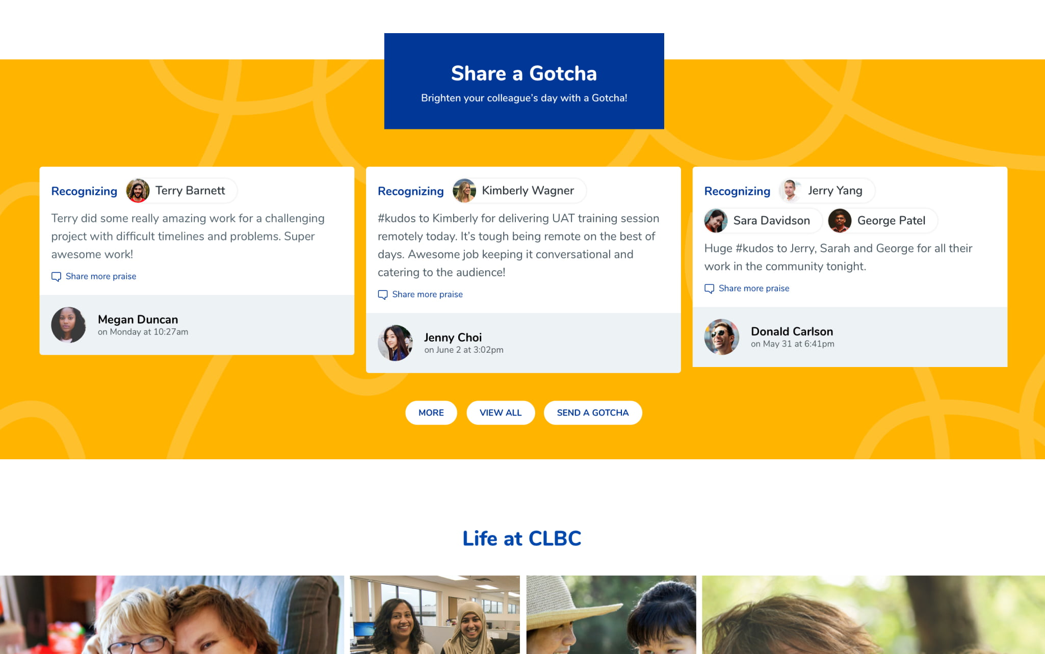Desktop mock-up of the 'share a gotcha' panel on the home page on CLBC's intranet.