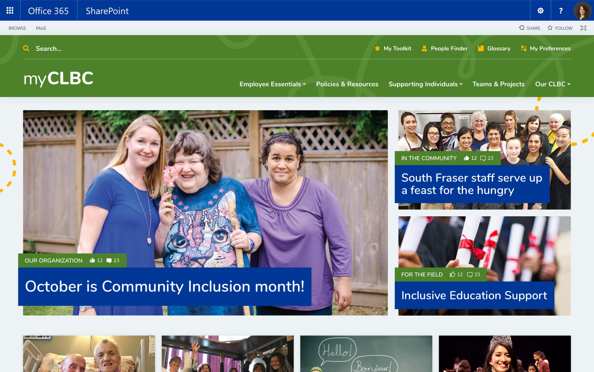 Desktop mock-up of the home page of CLBC's intranet.