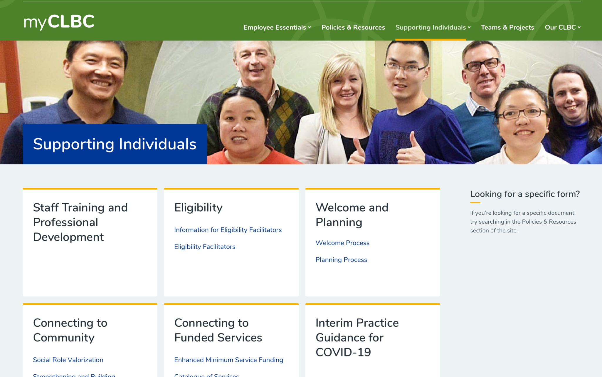 Desktop mock-up of the 'supporting individuals' page on CLBC's intranet.