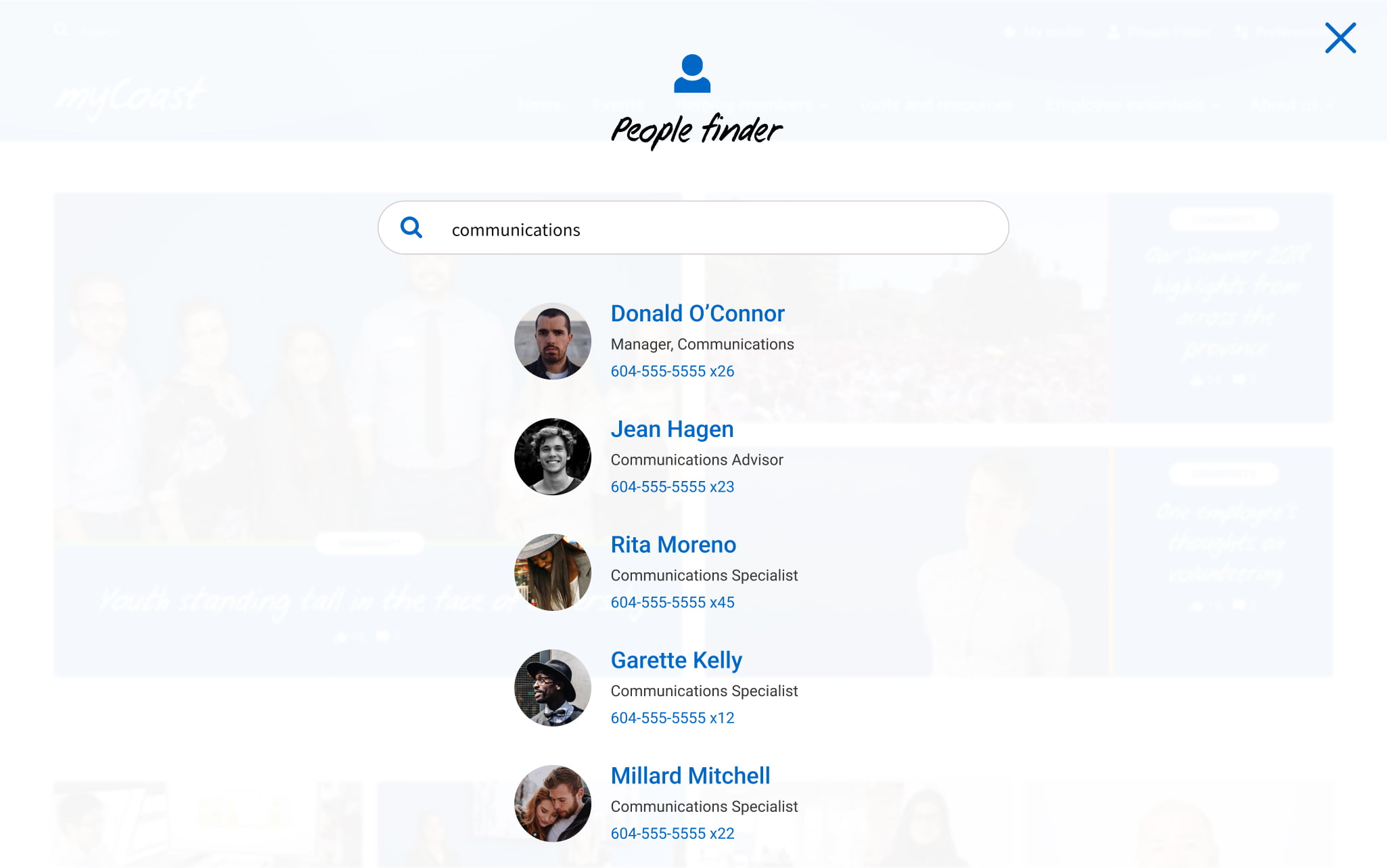 A screenshot of the people finder.