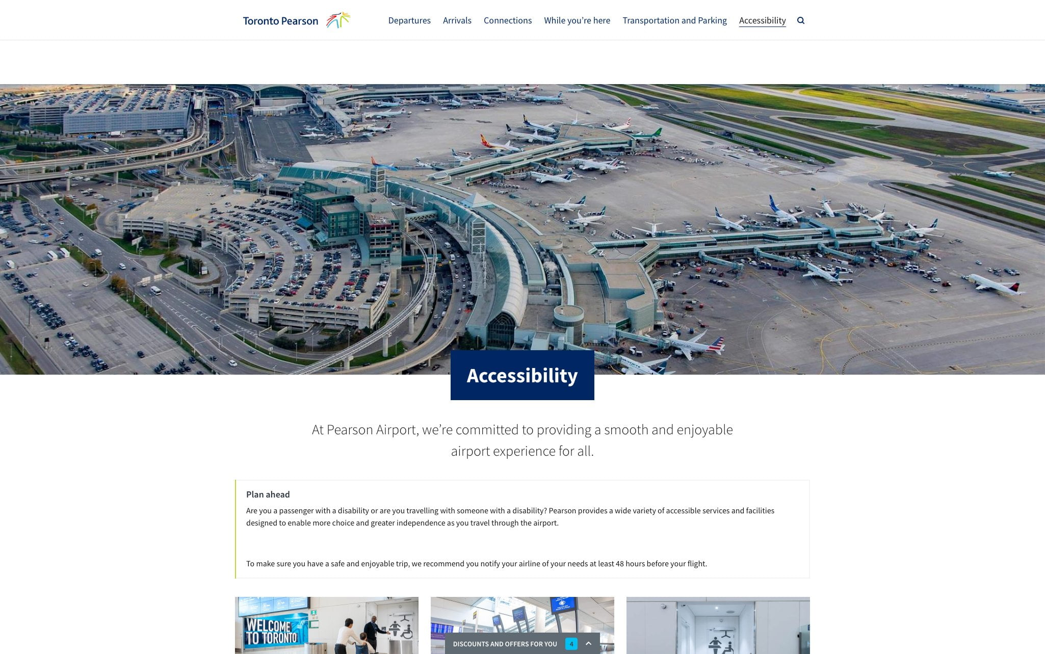 A screenshot of the accessibility landing page on TorontoPearson.com on a desktop-sized viewport.