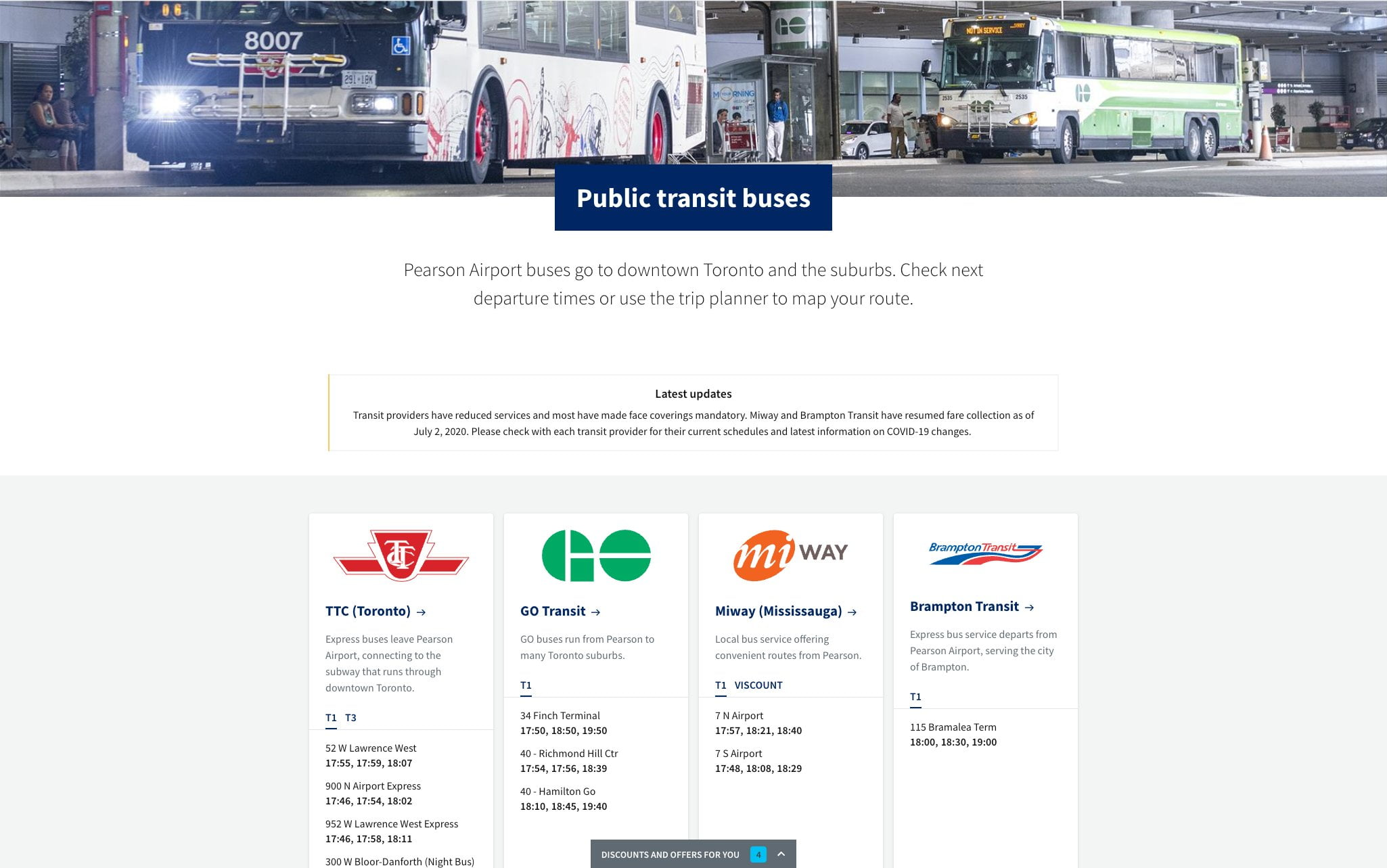 A desktop screenshot of the public transit page on TorontoPearson.com. Shows the timetable of buses that leave the airport.