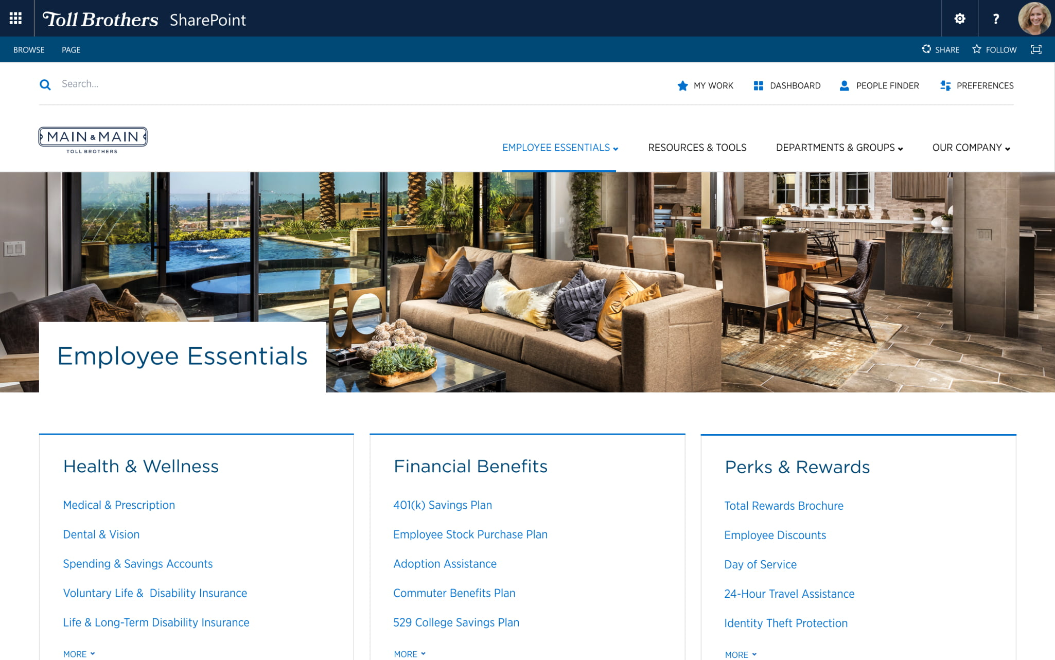 Mock-up of the employee essentials page from Toll Brother's intranet.