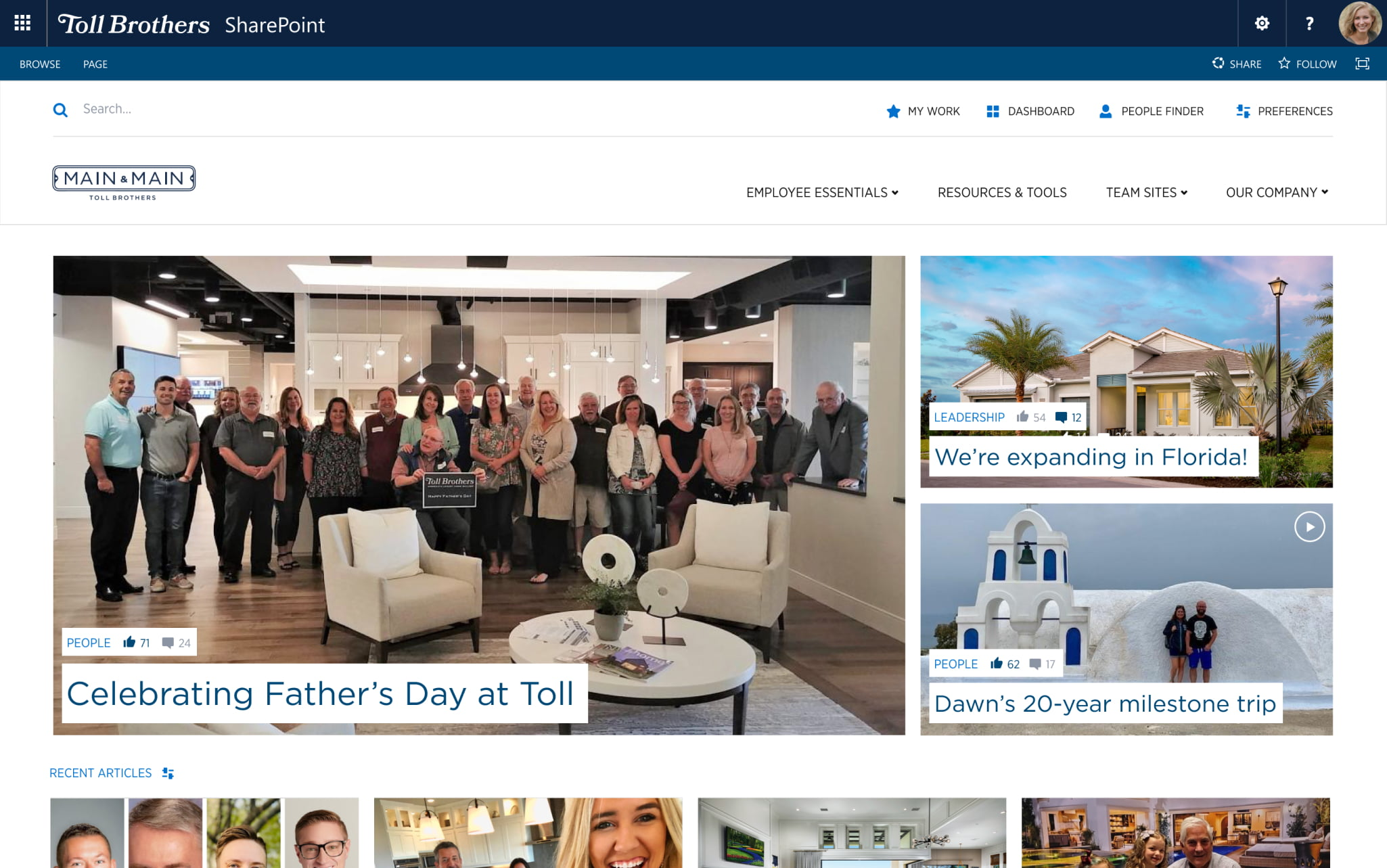 Mock-up of the home page from Toll Brother's intranet.